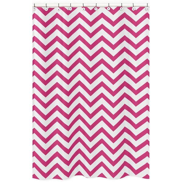 Sweet Jojo Designs Hot Pink/ White Chevron Zigzag Shower Curtain
