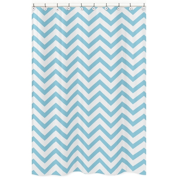 Sweet Jojo Designs Turquoise/ White Chevron Zigzag Shower Curtain