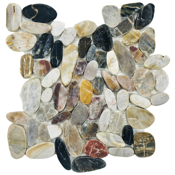 SomerTile 11.75x11.75-inch Riverbed Square Multicolored Stone Mosaic Floor and Wall Tile (Case of 10
