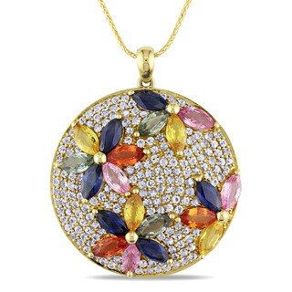 Miadora Signature Collection 14k Yellow Gold 8 3/4ct TGW Multi-color Sapphire Flower Necklace