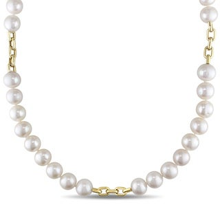 Miadora Signature Collection 14k Yellow Gold Cultured FW Akoya Pearl Necklace (10.5-11 mm)