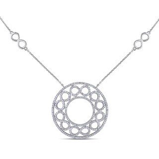 Miadora 14k White Gold 1ct TDW Diamond Circle Necklace (G-H, I1-I2)