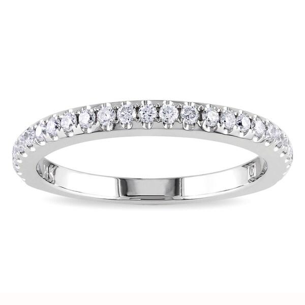Miadora 14k White Gold 1/3ct TDW Diamond Eternity Ring (G-H, SI1-SI2)