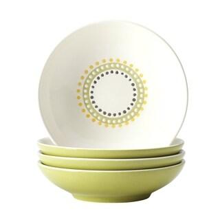 Rachael Ray Dinnerware Circles and Dots 4-piece Print Stoneware Fruit Bowl Set