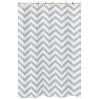 Sweet Jojo Designs Grey/ White Chevron Zigzag Shower Curtain