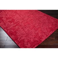 Hand Loomed Omaha Casual Solid Tone-On-Tone Floral Wool Area Rug (2' x 3')