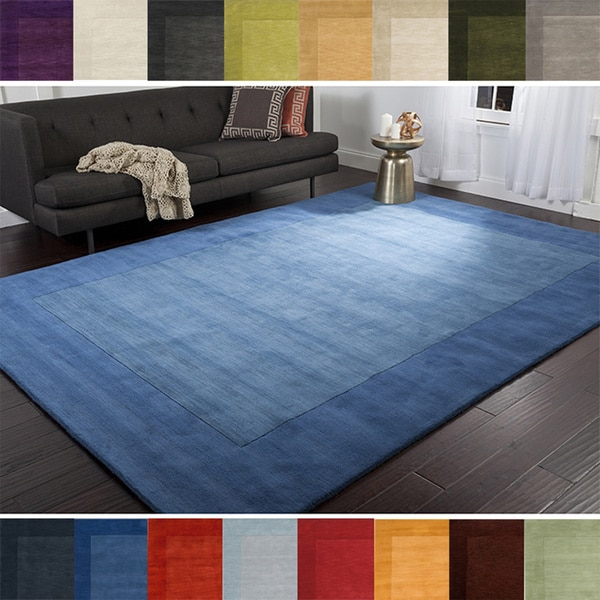 Hand loomed risor solid bordered wool area rug 7 39 6 x 9 39 6 for Living room rugs 6x9