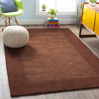 Hand Loomed Risor Solid Bordered Wool Area Rug 7 6 X 9