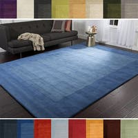 Hand Loomed Odessa Solid Bordered Tone-On-Tone Wool Area Rug - 9'9 Square