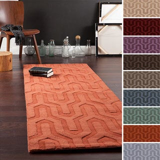 Hand Loomed Lille Solid Tone On Tone Geometric Wool Area