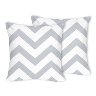 Sweet Jojo Designs Zig Zag Grey and White Chevron Throw Pillows (Set of 2)