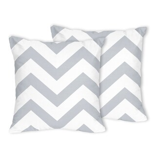 Sweet Jojo Designs Zig Zag Grey and White Chevron Throw Pillows (Set of 2)