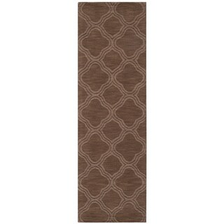 Hand Loomed Belpre Casual Solid Tone-On-Tone Moroccan Trellis Wool Area Rug (Brunette - 26 x 8)