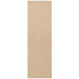 Hand Loomed Belpre Casual Solid Tone-On-Tone Moroccan Trellis Wool Area Rug (Cream - 26 x 8)