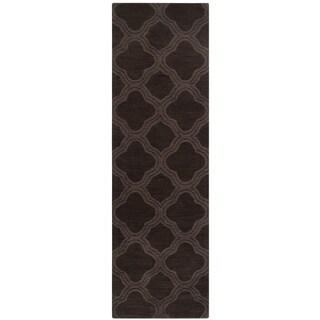 Hand Loomed Belpre Casual Solid Tone-On-Tone Moroccan Trellis Wool Area Rug (Dark Brown - 26 x 8 Runner)
