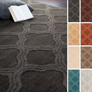 Hand Loomed Canton Casual Solid Tone-On-Tone Moroccan Trellis Wool Area Rug (5' x 8')