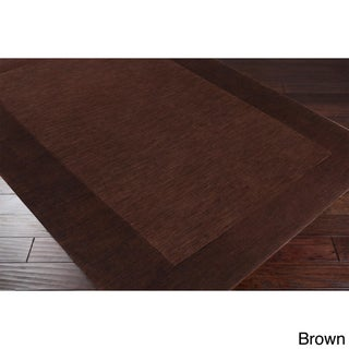 Hand Loomed Uganda Solid Bordered Tone-On-Tone Wool Area Rug (12' x 15') (More options available)