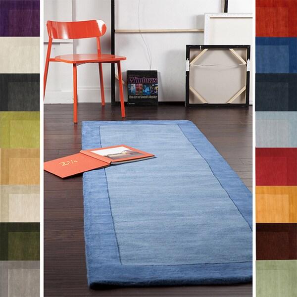 Handmade Mali Solid Bordered Tone On Wool Area Rug 2 6