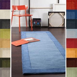 Hand Loomed Mali Solid Bordered Tone-On-Tone Wool Area Rug