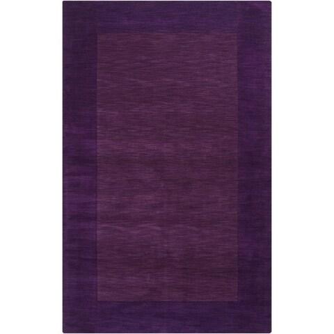 Hand Loomed Somalia Solid Bordered Tone-On-Tone Wool Area Rug