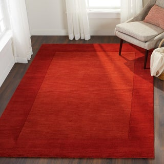 hand loomed tunisia solid bordered toneontone wool area rug 2u0027