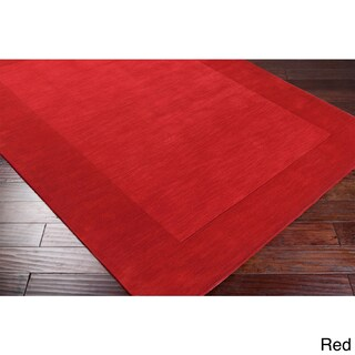Hand Loomed Ghana Solid Bordered Tone-On-Tone Wool Area Rug (5' x 8') (More options available)