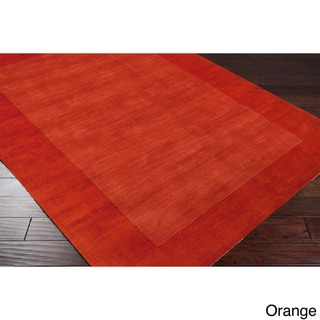 Hand Loomed Bergn Solid Bordered Tone-On-Tone Wool Area Rug (6' x 9')