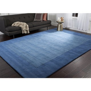 Hand Loomed Obert Solid Bordered Tone-On-Tone Wool Area Rug (9' x 13')