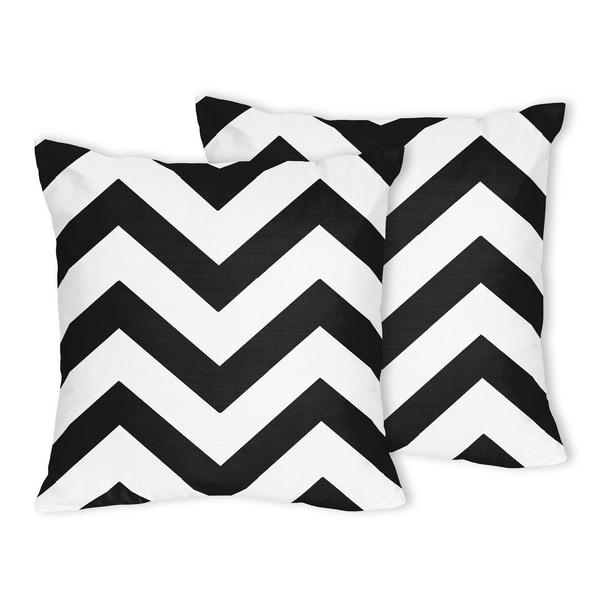 Sweet Jojo Designs Zig Zag Black and White Chevron Throw Pillows (Set of 2)