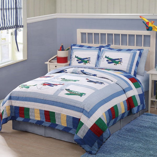 Fly Away Airplane Cotton 3-piece Quilt Set