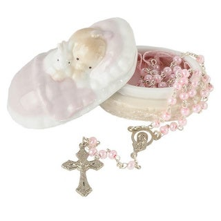 Roman Pink Rosary with Porcelain Gift Box