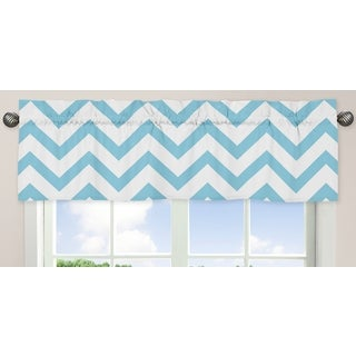 Sweet Jojo Designs Turquoise and White 54-inch x 15-inch Window Treatment Curtain Valance for Turquoise and