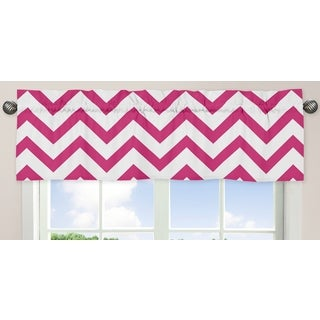 Sweet Jojo Designs Pink and White 54-inch x 15-inch Window Treatment Curtain Valance for Pink and White Chev