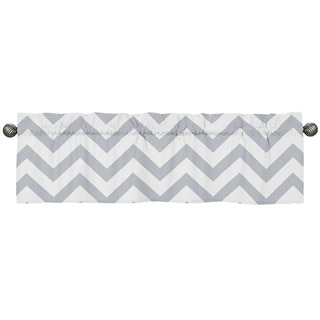 Sweet Jojo Designs Gray and White 54-inch x 15-inch Window Treatment Curtain Valance for Gray and White Chev