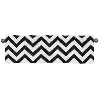 Sweet Jojo Designs Black and White 54-inch x 15-inch Window Treatment Curtain Valance for Black and White Ch