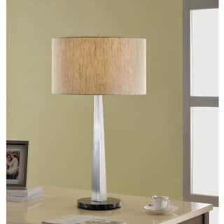 Artiva USA Luxor Contemporary 32-inch Square-tapered Brushed Steel Table Lamp with Marble Base and Rounded Tan Shade|https://ak1.ostkcdn.com/images/products/8869871/P16095552.jpg?impolicy=medium
