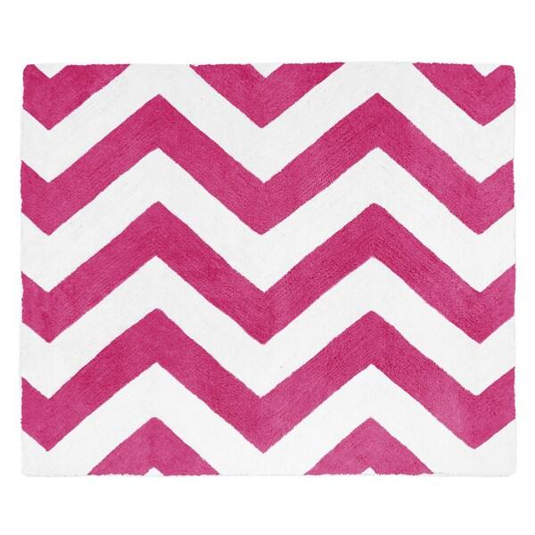 Sweet Jojo Designs Hot Pink/ White Chevron Floor Rug