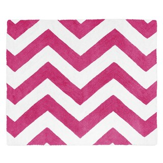 Sweet Jojo Designs Hot Pink/ White Chevron Floor Rug