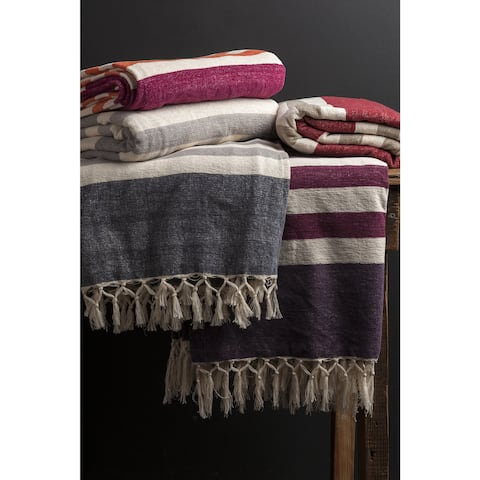 The Curated Nomad Wendy Cotton Striped Throw Blanket