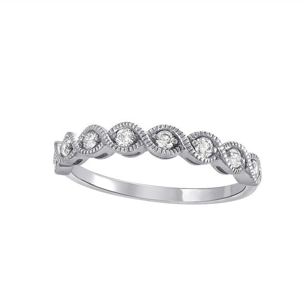 Beverly Hills Charm 14k White Gold 1/4ct TDW Diamond Vintage Anniversary Band Ring