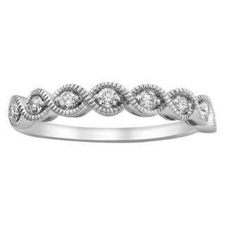 Beverly Hills Charm 14k White Gold 1/4ct TDW Diamond Vintage Anniversary Band Ring
