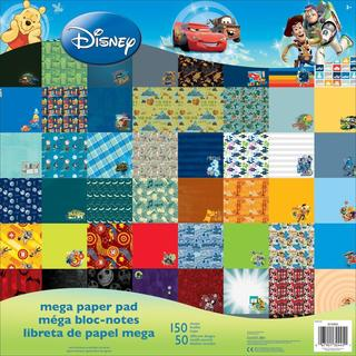 Disney Mega Paper Pad 12 X12 150/Sheets - Boy, 50 Designs/3 Ea