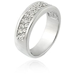 Icz Stonez Sterling Silver Two Row CZ Band Ring - Thumbnail 1