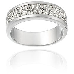 Icz Stonez Sterling Silver Two Row CZ Band Ring - Thumbnail 0