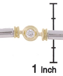 ICZ Stonez 18k Gold over Silver Two-tone Cubic Zirconia Bracelet - Thumbnail 2