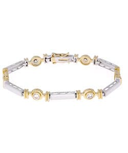 Icz Stonez Gold Over Silver Two Tone Cubic Zirconia Bracelet