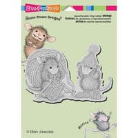 Stampendous House Mouse Cling Rubber Stamp 5.5 X4.5  Sheet - Knit Gift