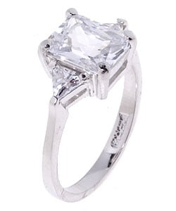 Icz Stonez Sterling Silver Radiant-cut CZ Ring - Thumbnail 1