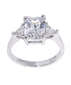 Icz Stonez Sterling Silver Radiant-cut CZ Ring