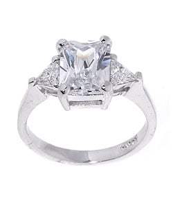 Icz Stonez Sterling Silver Radiant-cut CZ Ring - Thumbnail 0